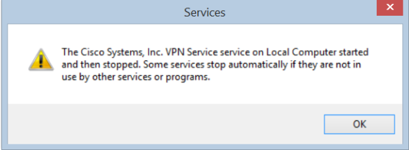 Cisco VPN service error