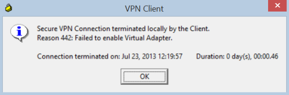 Failed to enable Virtual Adapter